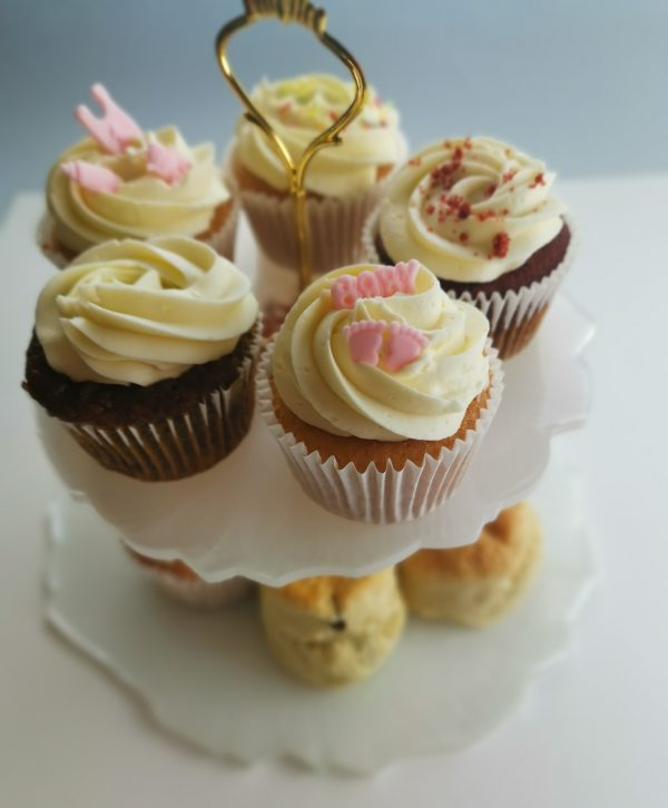 Resin Afternoon Tea stand white & rose gold with cupcakes